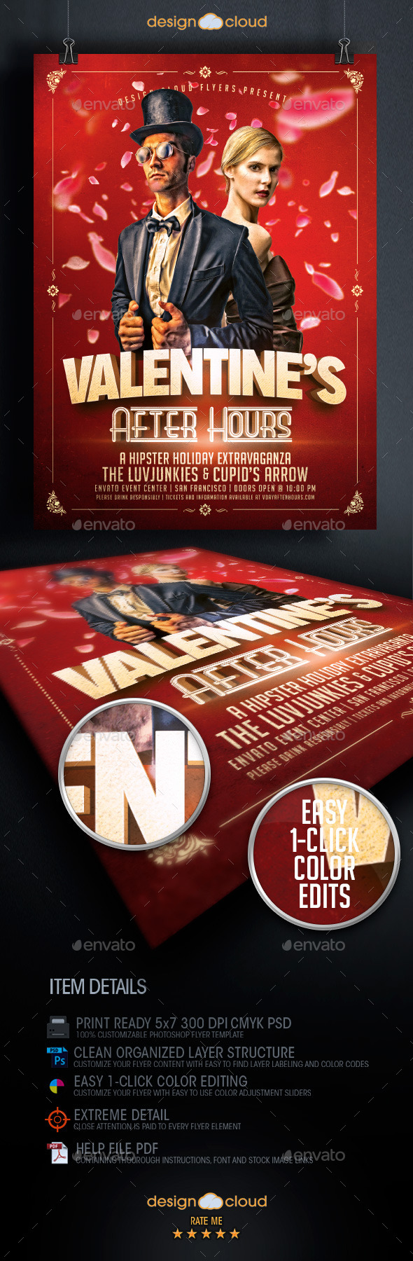 GraphicRiver Valentine s After Hours Hipster Flyer Template 9894428