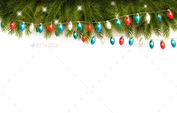 GraphicRiver Christmas Background with Branches and a Garland 9894589
