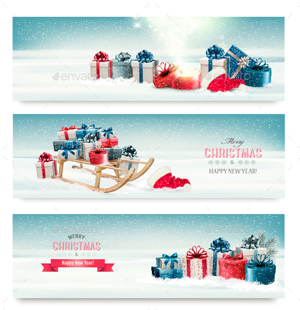 GraphicRiver Three Christmas Banners with Presents and Sleigh 9894595