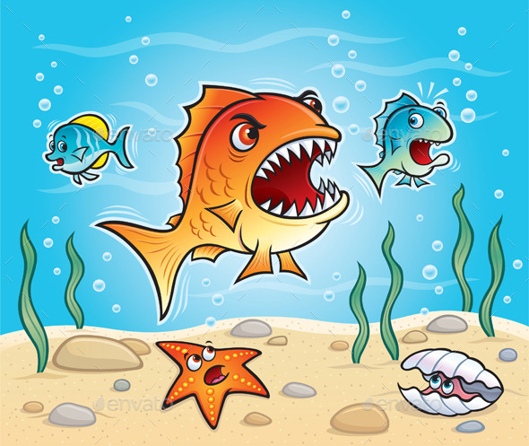 GraphicRiver Big Fish About to Chomp a Little Fish 9894609