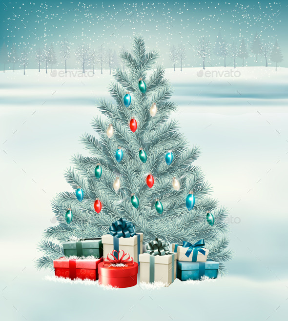 GraphicRiver Christmas Tree with Presents Background 9894671