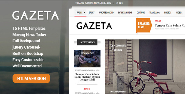 ThemeForest Gazeta Responsive Magazine & News Template 9814648