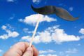 mustache on a stick against the sky with clouds - PhotoDune Item for Sale