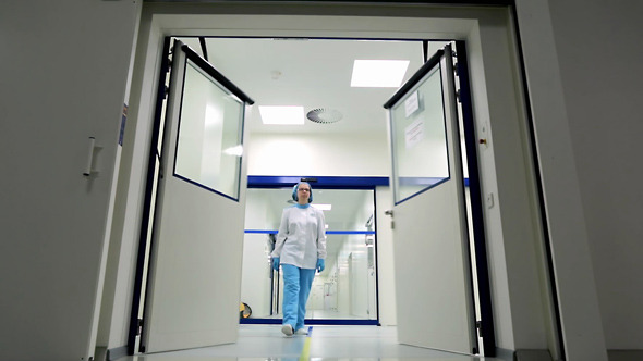 Automatic Door in a Hospital Medical Laboratory