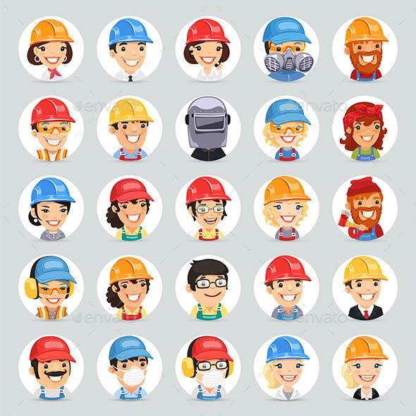 GraphicRiver Builders Cartoon Characters Icons Set 9879157