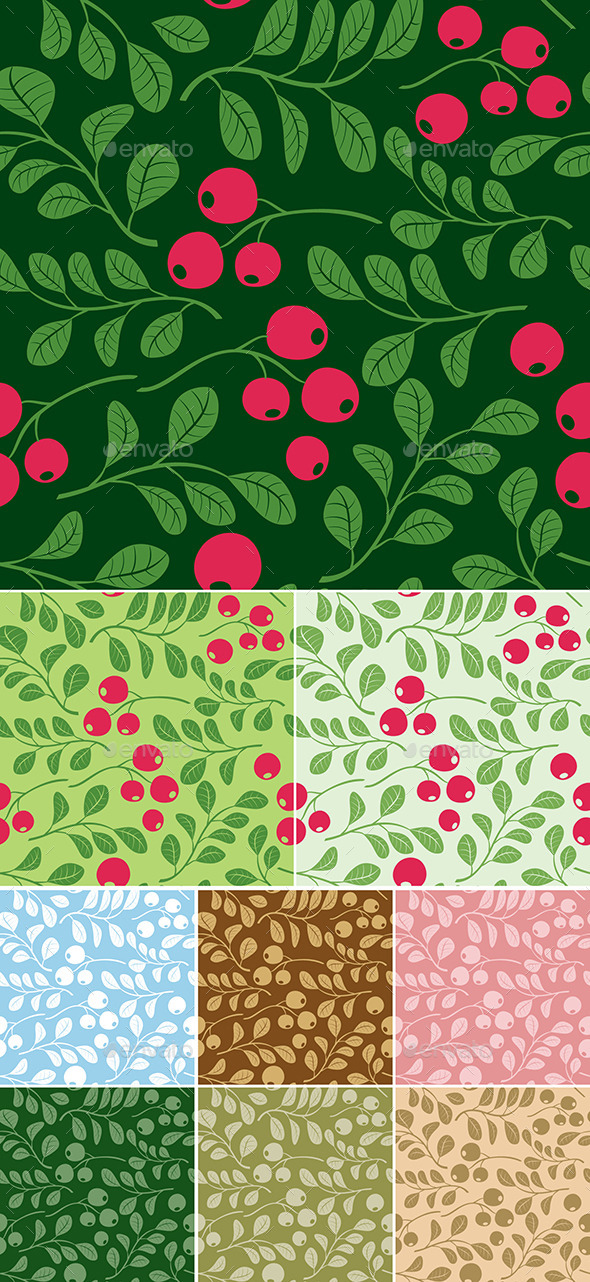 GraphicRiver Floral Seamless Patterns with Berries 9895135