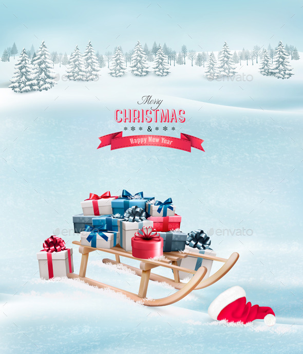 GraphicRiver Christmas Presents on a Sleigh and a Santa Hat 9894346