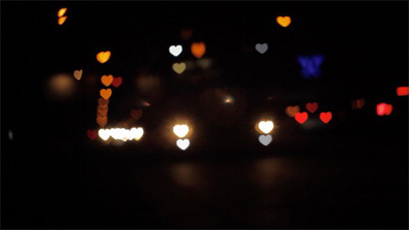 Night City Traffic Hearts Bokeh
