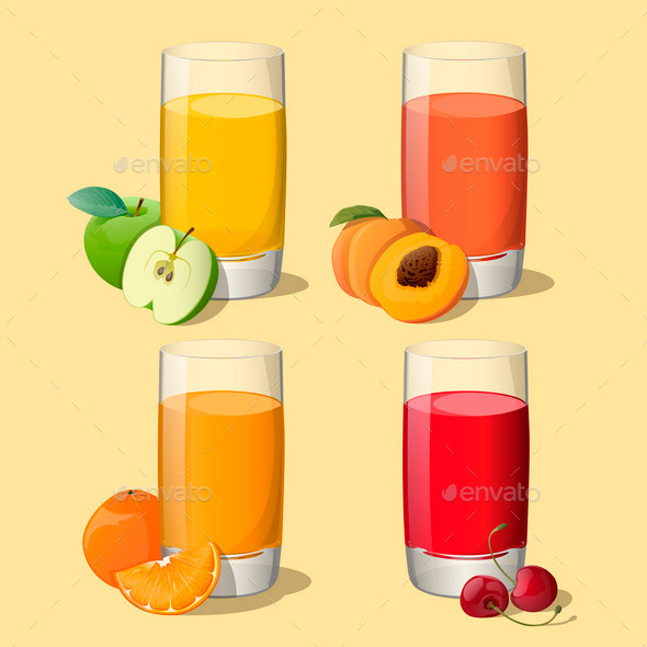 GraphicRiver Set of Juices in Glass 9895483
