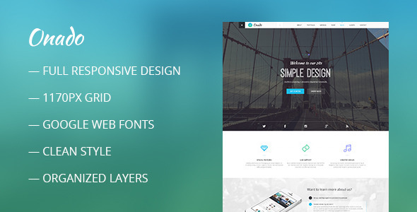 ThemeForest Onado One Page Theme 9857958