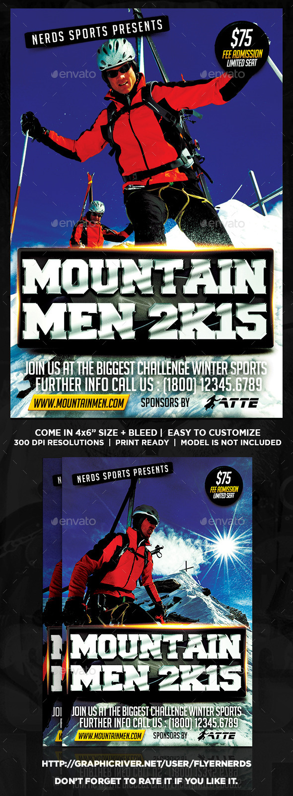 GraphicRiver The Mountain Men Extreme Sports Flyer 9895537
