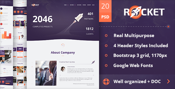 Description: The Rocket Multipurpose PSD Template has awesome design for each of your ideas. It is designed for corporate and business websites, shops, blogs, o