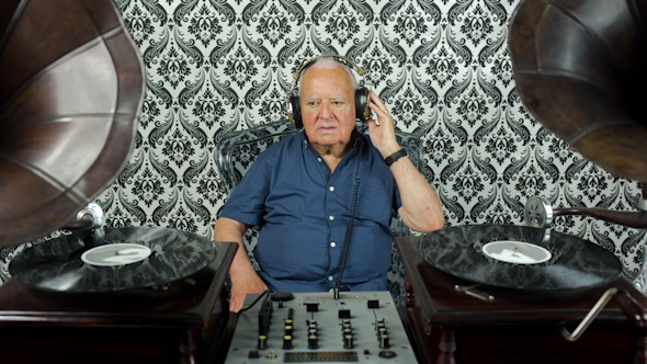Funky Grandpa Dj With Gramophones 7