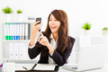 happy business woman using the smart phone in office - PhotoDune Item for Sale