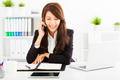 happy business woman talking on the phone in office - PhotoDune Item for Sale