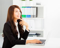 smiling young business woman working with  laptop - PhotoDune Item for Sale