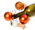 Empty bottle of wine, corks, muselets and Christmas decorations - PhotoDune Item for Sale