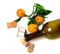 Empty bottle of wine, corks, muselet and mandarins - PhotoDune Item for Sale