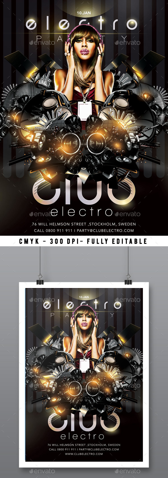 GraphicRiver Flyer Electro Sound Party In Club 9896862
