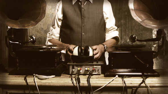 Stylish Old Man Mixing Records Gramophone 4