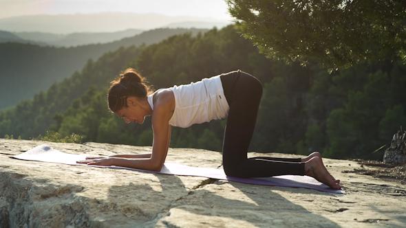 Yoga Teacher Amazing Sunset Mountain Clifftop 6
