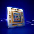 Computer CPU Chip on Blue Background - PhotoDune Item for Sale