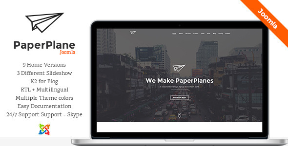 ThemeForest PaperPlane Creative One Page Joomla Template 9899268