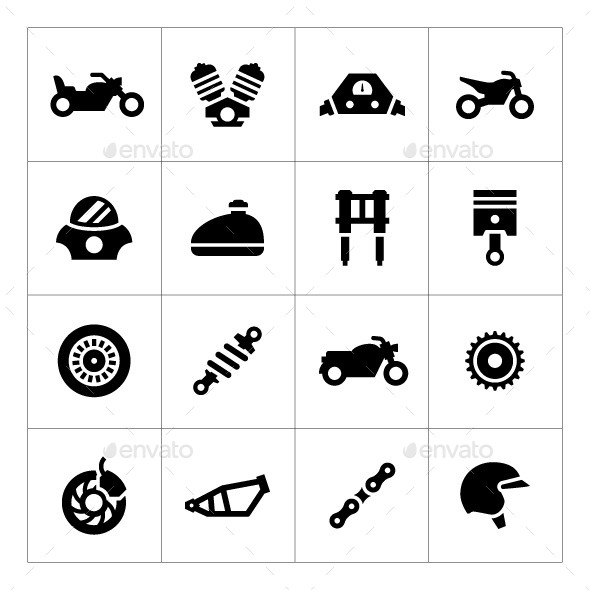GraphicRiver Set Icons of Motorcycle 9899990
