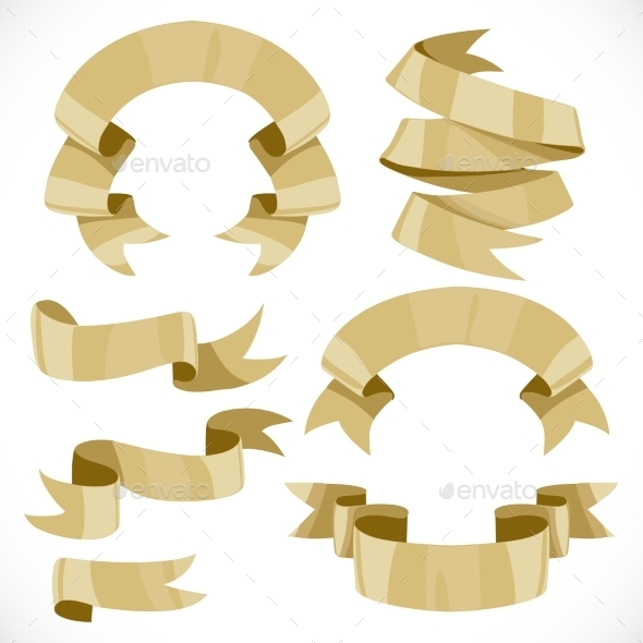 GraphicRiver Set of Festive Golden Ribbons Various Forms 9900154