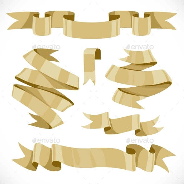 GraphicRiver Set of vector festive golden ribbons various forms 9900159