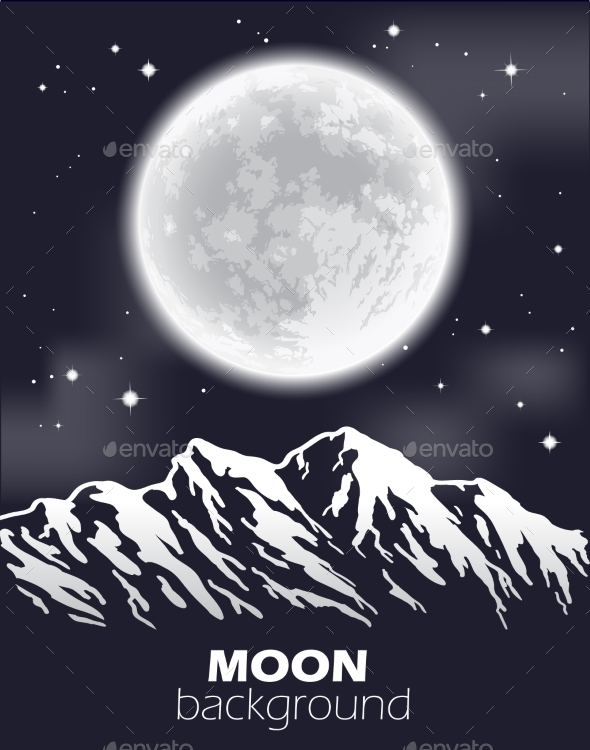 GraphicRiver Full Moon Over Mountains 9900171
