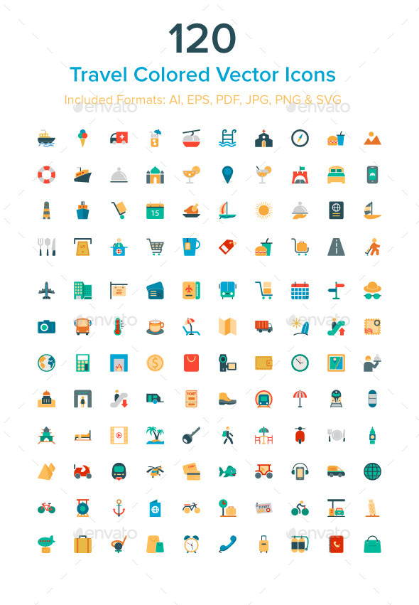 GraphicRiver 120 Travel Colored Vector Icons 9900446