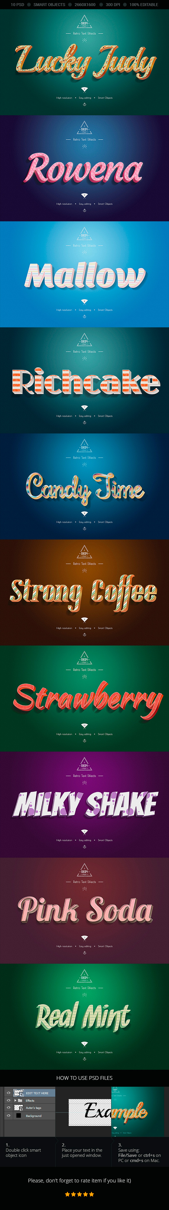 GraphicRiver Sweet Colorful Text Effects 10 PSD 9860903