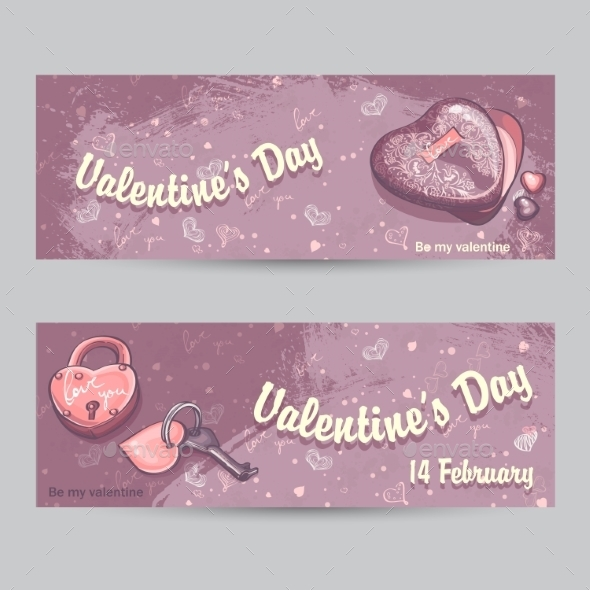 Set of Horizontal Greeting Cards for Valentine s Day