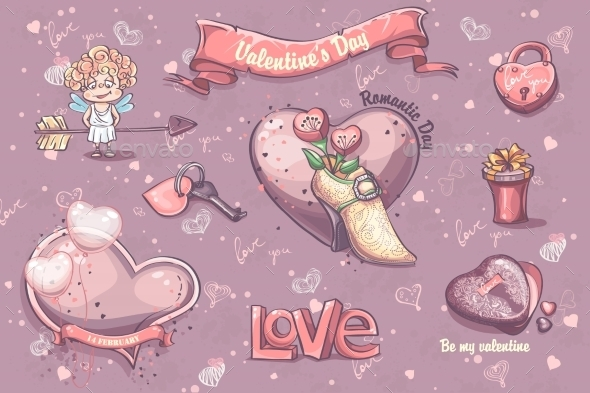 GraphicRiver Set of Festive Elements for Valentine s Day 9900678