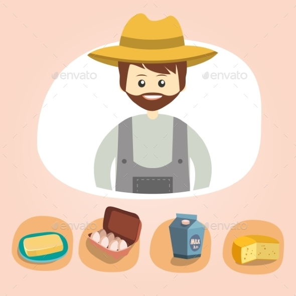 Set of Colorful Farm Icons