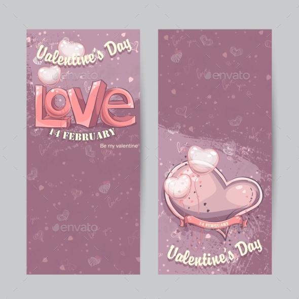 GraphicRiver Set of Vertical Cards for Valentine s Day 9900683