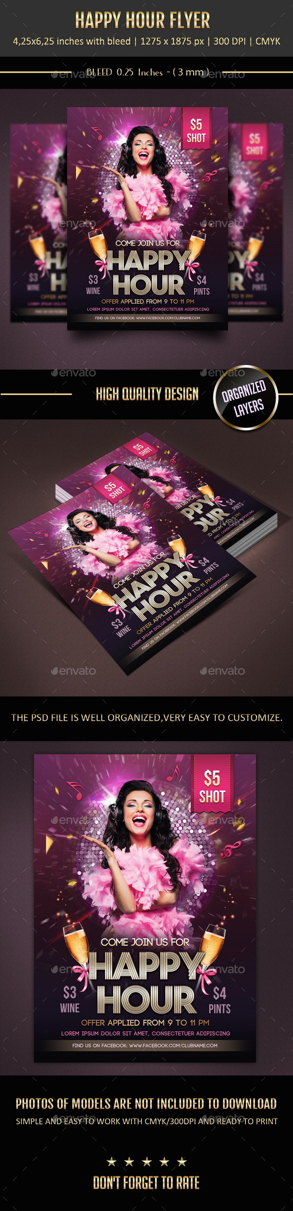 GraphicRiver Happy Hour Flyer 9866113