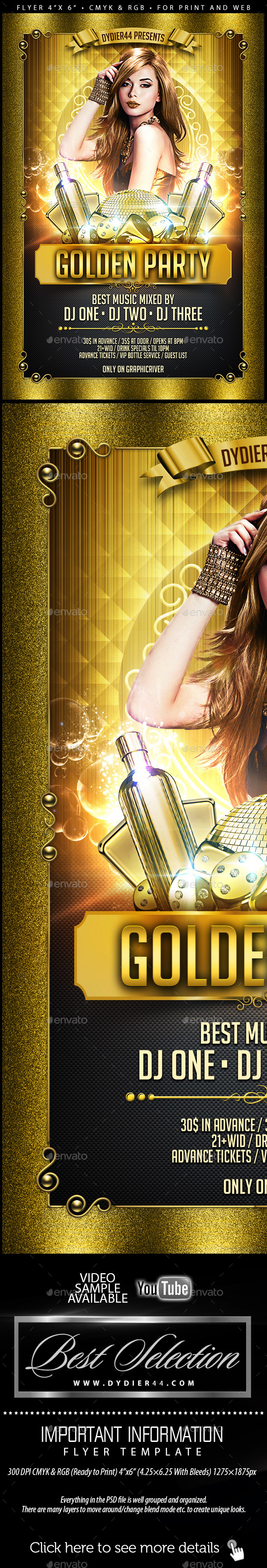 Golden Party Flyer Template 4x6