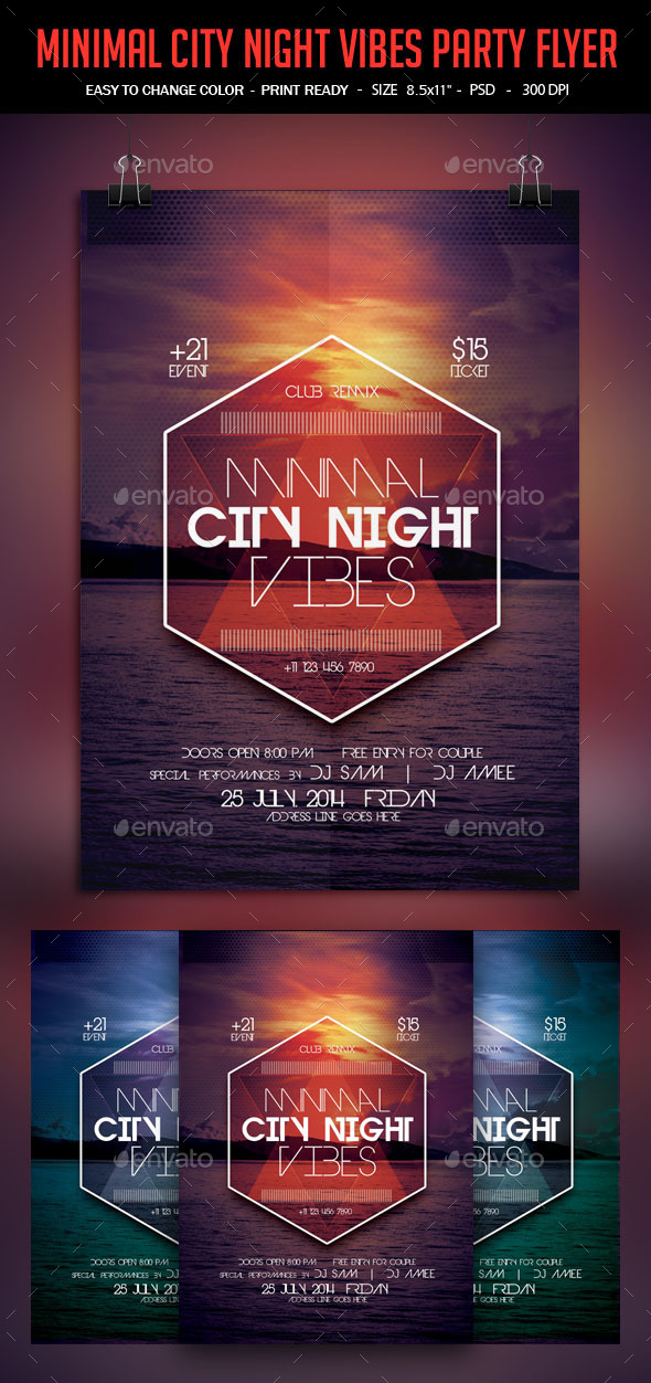 GraphicRiver Minimal City Night Vibes Poster 9901442
