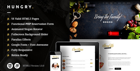 ThemeForest Hungry A One-Page HTML Restaurant Template 9855248