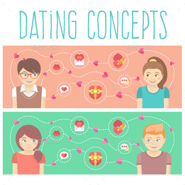 GraphicRiver Dating Concepts with Two Happy Couples 9902393