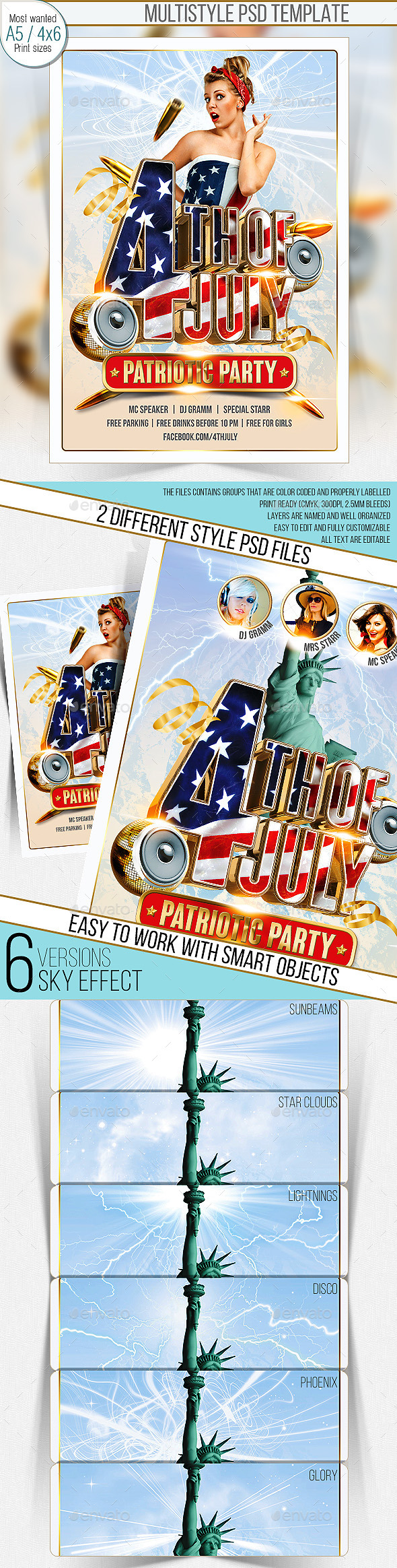 GraphicRiver 4th Of July Party Flyer Multistyle 9865506