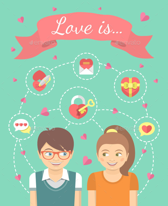 GraphicRiver Dating Conceptual Illustration with Love Icons 9902472