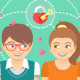 Dating Conceptual Illustration with Love Icons - GraphicRiver Item for Sale
