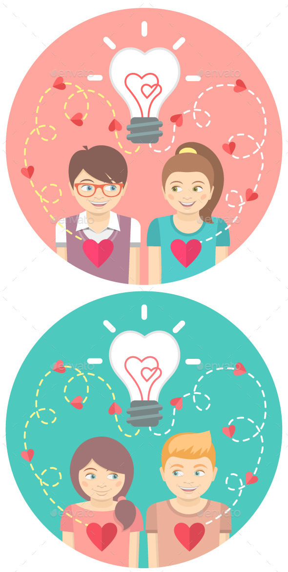 GraphicRiver Couples in Love with a Light Bulb in a Circles 9902628