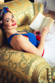 Pin Up Girl With Book On Chair - PhotoDune Item for Sale