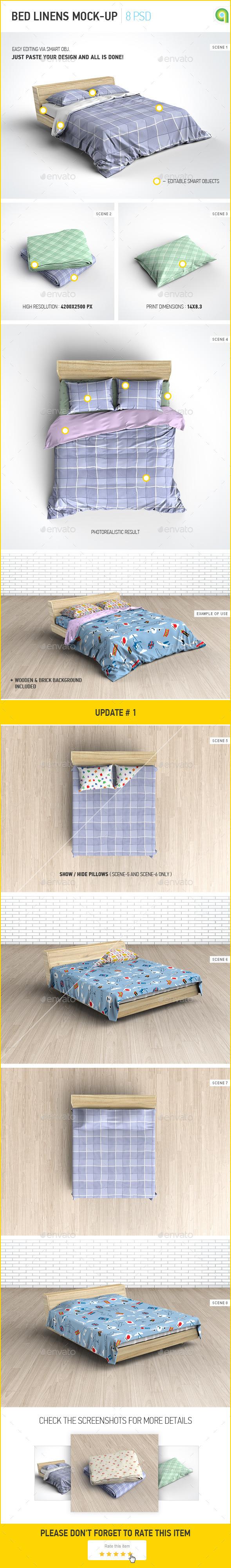 Bed Linens Mock-Up Bedding Set Template
