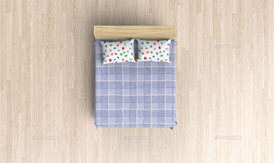 Bed furniture top view - Bed Linens Mock Up Bedding Set Template By Ayashi Graphicriver