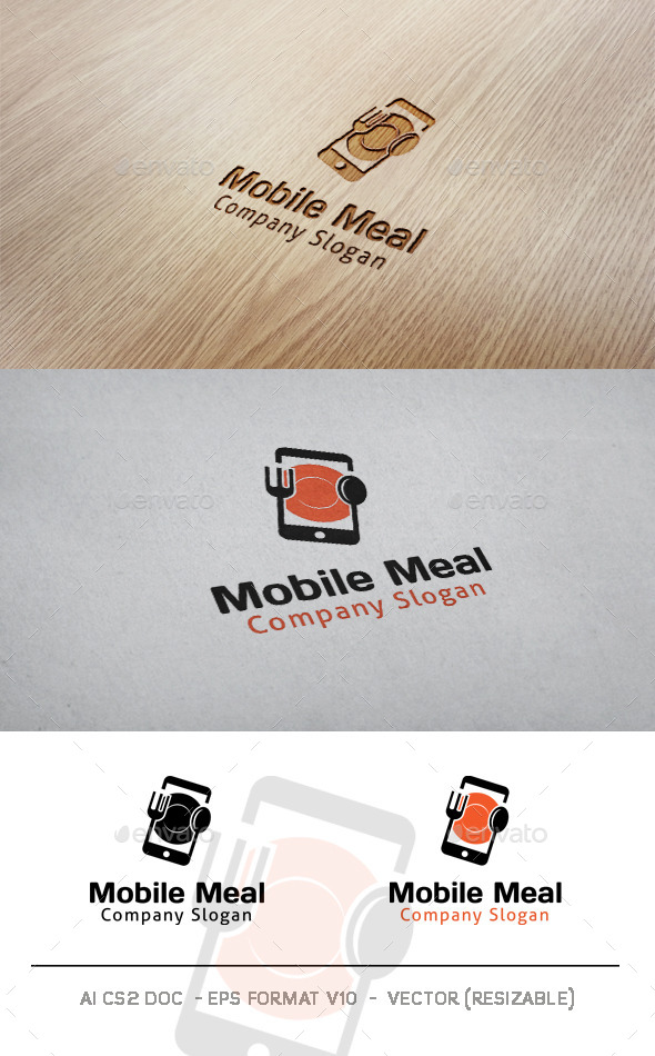 GraphicRiver Mobile Meal Logo 9904234